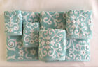 CYNTHIA ROWLEY AQUA GREY WHITE SCROLL  BATH HAND WASH TOWELS - SET OF 6 - NEW