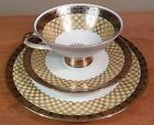 Art deco Winterling yellow and gold basket weave cup, saucer and dessert plate