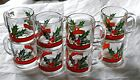 8 BEAUTIFUL VINTAGE LIBBEY CLEAR GLASS HOLLY & BERRY CHRISTMAS MUGS EGGNOG