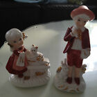 Korean Gift Craft Taupe D'Amour Figures. Boy with Rabbit and Girl with Cat