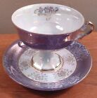 Vintage lavender and white with gold filigree pedestal cup and saucer - FREE SH