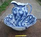 Rare Maddock Flow Blue Large Pitcher Wash Basin, Triumph Pattern Tulips Dry Sink