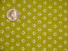 Tiny Abstract Ivory Bees Olive Green Vintage Look Cotton Fabric BTY by the yard