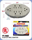 OVAL 6 OUTLET WALL ADAPTER ELECTRIC WALLMOUNT TAP POWER UL LISTED