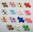 1 15 pairs Wholesale Pet Dog Cat Handmade Printing Design Hair Bow Rubber Bands