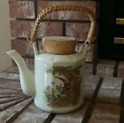 Pheasant Teapot with Bamboo Handle  Floral and Gold Tea Time
