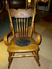 antique Oak rocker childs rocking chair Refinished reglued pressed back