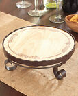 Appetizer Server on Stand Wood Metal Elegant Serveware Round Snack Party Tray
