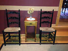 Set of 2 Antique Hitchcock Style Ladderback Wicker Rush Seat Side CHAIRS c1900