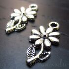 Daisy Flower Wholesale Silver Plated Charm Pendant Findings C3601 10 20 Or 50