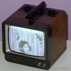 RCA VINTAGE PORTABLE TELEVISION BLACK & WHITE 1970s RETRO CUBE BROWN LEATHER
