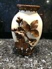 GORGEOUS ANTIQUE PORCELAIN HAND MADE VASE WITH COPPER FLOWERS    VERY RARE