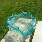 Vintage Murano Italy Art Glass Aqua Blue Clear Controlled Bubble Dish STUNNING!!