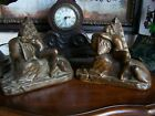 ANTIQUE ART DECO  BRONZE CLAD  LADY SCULPTURE BOOKENDS*SALE*