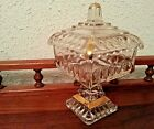 Vintage Gold Trim Square Clear Glass Pedestal Candy Wedding Dish