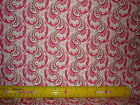 Retro Print Fabric Rows of Pink & Brown Paisleys on Cream - Sold by the Yard