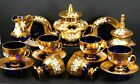 Tea Set Cobalt Blue 24k  Glass Beaitful Flower Moser