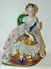 Antique Porcelain Seated Lady Woman Queen Figurine  - Dresden Lace