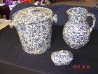 ANTIQUE 3 PEICE STAFFORSHIRE ENGLAND TRANSFERWARE PITCHER,CHAMBER POT, RAZOR DIS