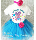 Abby Cadabby Rainbow Fairy Baby Girl 1st First Birthday Tutu Outfit Shirt Set