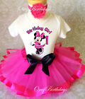 Minnie Mouse HOT PINK Black Baby Girl 1st First Birthday Tutu Outfit Shirt Set