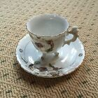 ANTIQUE VINTAGE White GOLD TRIM FOOTED DEMITASSE SMALL TEA CUP AND SAUCER