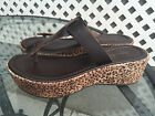 SOTTO SOPRA Wedge Leather Summer Sandals Brown Leopard Size 9 Made in Italy