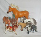 Lot Toy Horse Figurines Country Farm Doll CG Japan Paint Tan White Animal Saddle