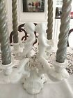 VINTAGE ITALIAN FIGURAL PORCELAIN 4-ARM CANDELABRA CHERUBS AND FLOWERS