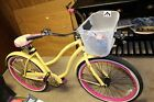 Huffy 26 Yellow Beach Bike with Basket Bell Lights Lock and Bike Computer