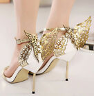 New Womens Butterfly Ankle Strap Sandals Party Wedding Shoes Stiletto High Heels