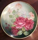 ANTIQUE THOMAS SEVRES BAVARIA ROSE DESIGN HAND PAINTED PLATE SIGNED