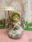 Vtg ARDALT Southern Belle Girl W Umbrella Pink Rose Bonnet Holds Bouquet Touquet