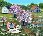 Folk Art Original Landscape Oil Painting Barn Cow Pink Tree Picnic Arie Taylor