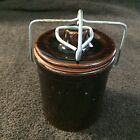 Vintage Glazed Cheese/Butter Stoneware Crock Wire Bale Primitive w/Gasket seal
