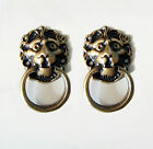 LOT OF 2 PCS BRASS ANTIQUE LION Head Cabinet Door Brass KNOB Drawer Round Pull