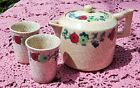 ANTIQUE 1920's-30's HAND PAINTED CERAMIC TEAPOT WITH TWO CUPS - MADE IN JAPAN