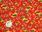 Red Roosters farm life JoAnn Quilting Cotton Fabric BTY By The Yard