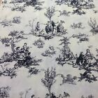 Toile Scenic French Country Fabric Black Gray Michael Miller #C-485 21 x 67