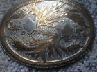 Vintage Hand Made 3 Tier Engraved Wil Aren Western Belt Buckle Silver And Gold