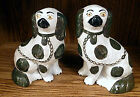 Pair  Antique Staffordshire Dogs King Charles Spaniels