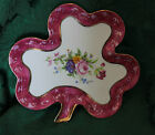 CHODZIEZ PORCELAIN CLOVER SHAPED DISH-FLORAL CENTER-24 KT GOLD TRIMMED-VERY NICE
