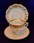 Antique German Porcelain Fancy WHITE & GOLD CUP, SAUCER, & PLATE Ornate