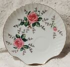 VINTAGE YAMAKA CHINA SCALLOP SHELL SNACK / SERVING TRAY - PINK ROSES