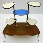 50s Vintage German Display Table Plant Stand Hairpin Legs Creme Blue and Brown
