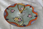 COLORFUL LUSTERWARE WITH ROSES GOLD TRIM SERVING DISH WITH HANDLE-MADE IN JAPAN