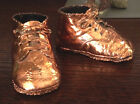 Pair of Old Vintage Copper Dipped/Plated Leather Baby Shoes Very Good Cond