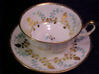 Vintage Royal Chelsea HEAVY GOLD GILDED Tea Cup Saucer 1950 s RETRO