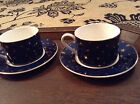 Galaxy By Sakura 2 Porcelain Coffee Cups And Saucers Dark Blue With Gold Stars