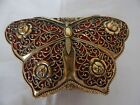 VINTAGE FILIGREE BRASS BUTTERFLY MUSICAL BOX MADE IN JAPAN.